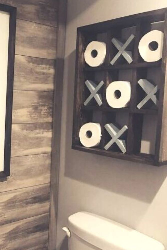 Make Your Guest Bathroom Fun With This Bathroom Wall Decor Project This Rustic Decor Idea Is Perfect For Dec In 2020 Diy Bathroom Decor Bathroom Decor Simple Bathroom
