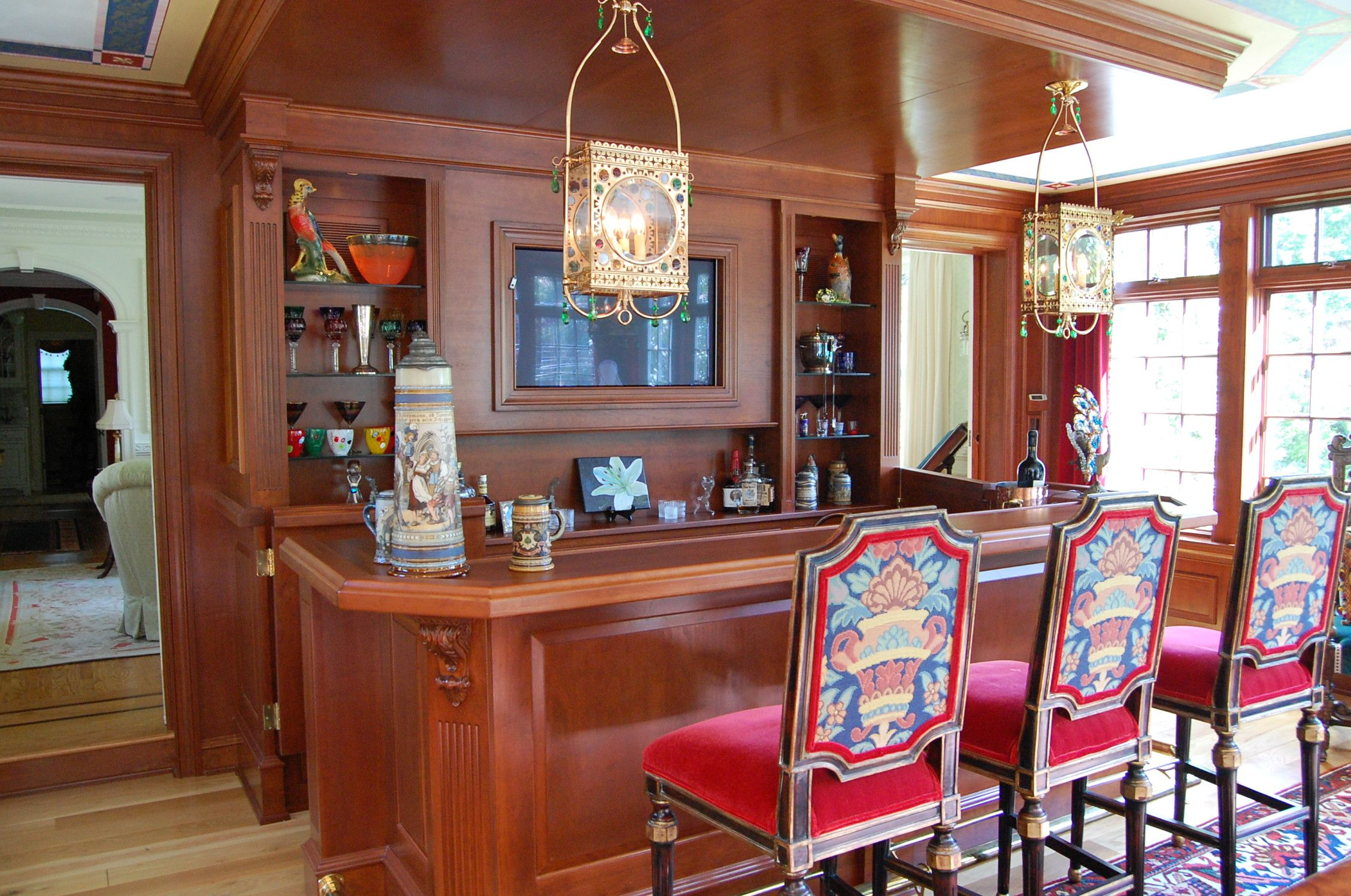 Find ideas for remodeling your basement into your fantasy space or simply finish it with hgtv's basement flooring and color ideas. Cherry Game Room with Paneling and Bar, Haddonfield, NJ ...