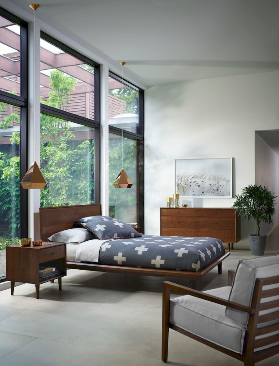 Bright and trendy mid century modern bedroom