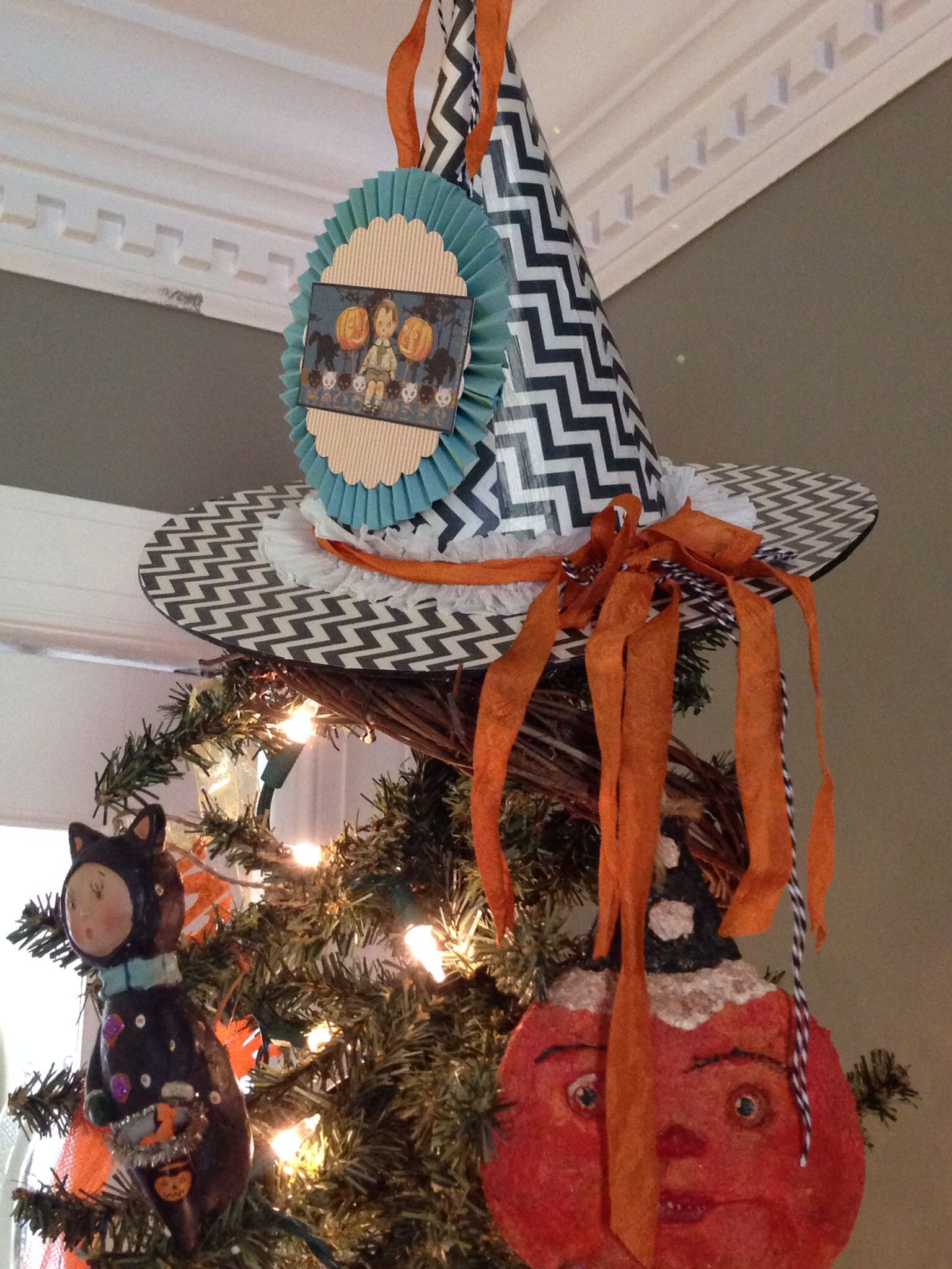 Halloween Tree Topper Orange and Black Witch Hat Topper