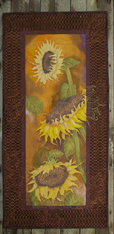 Sunflowers Art Quilt Wall Hanging Hand Painted Fiber Art