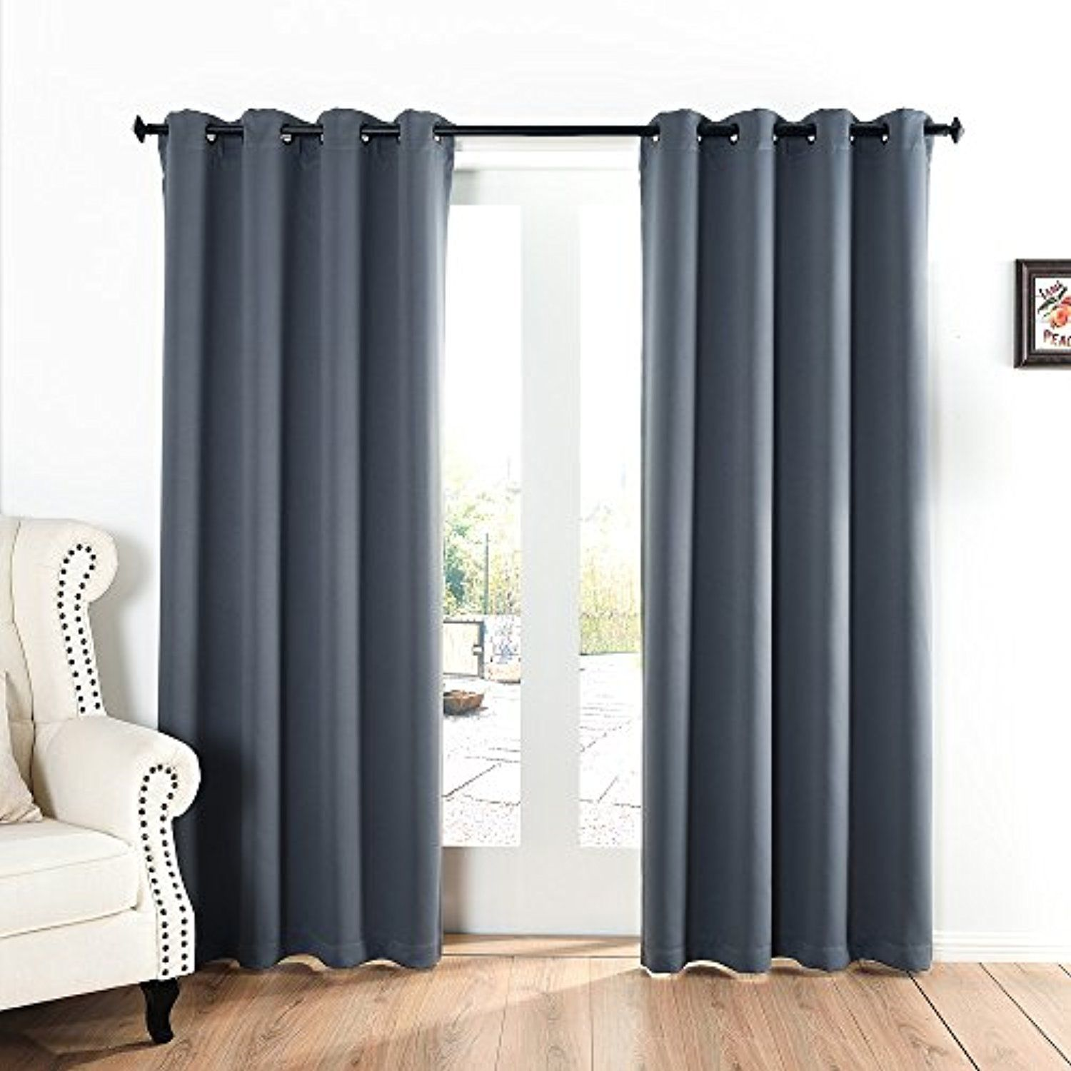 Blackout Curtains 52x84 Inch Dark Grey03 Set Of 2 Panels Silver Grommet Top Thermal I Blackout Eyelet Curtains Duck Egg Blue Living Room Duck Egg Blue Bedroom