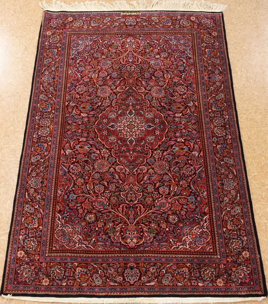 4 X 7 Persian Kashan Hand Knotted Wool Burgundy Blue Antique Oriental Area Rug Buying Carpet Rugs On Carpet Shaw Carpet