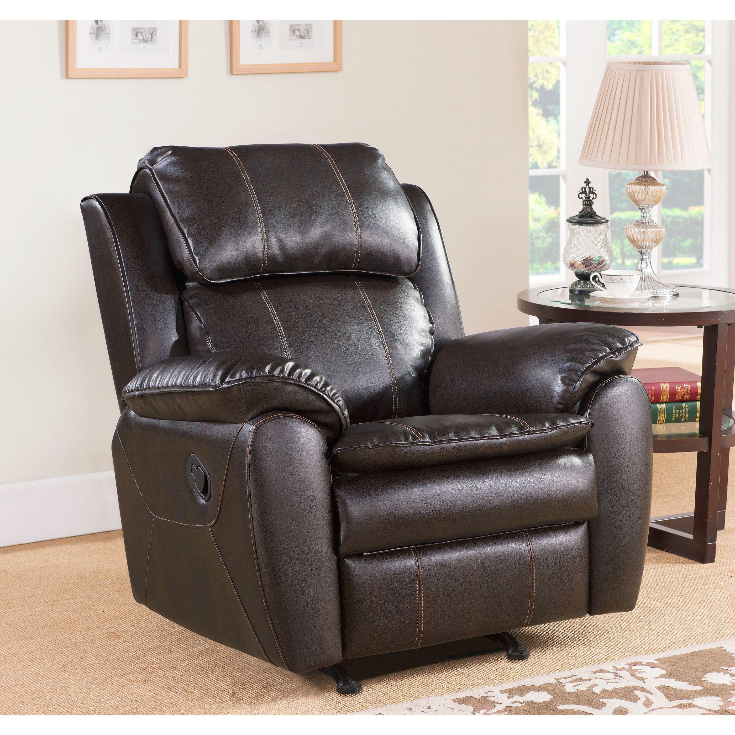 Abbyson Living Harbor Dark Brown Leather Rocker Recliner Chair
