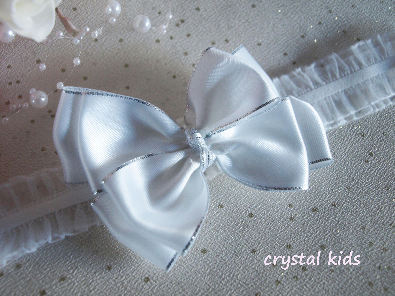 Girls Ivory Christening Wedding Hair Bow Clip Satin Pearl Headband HANDMADE