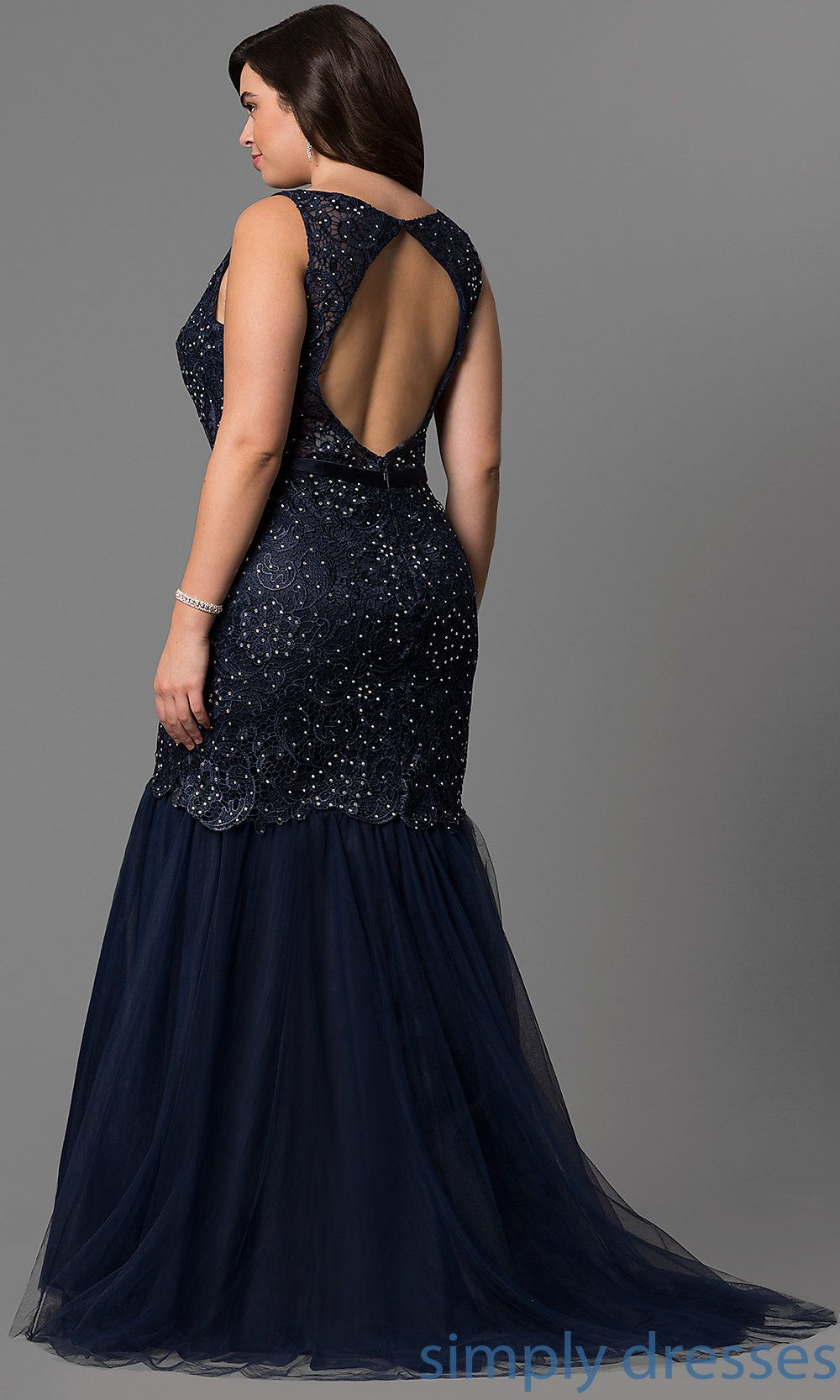 Dqpn long plussize navy blue formal dress with lace