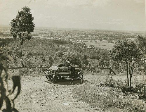 Firemen on their way to fight a blaze at Mt. Gravatt, Brisbane, ca. 1940