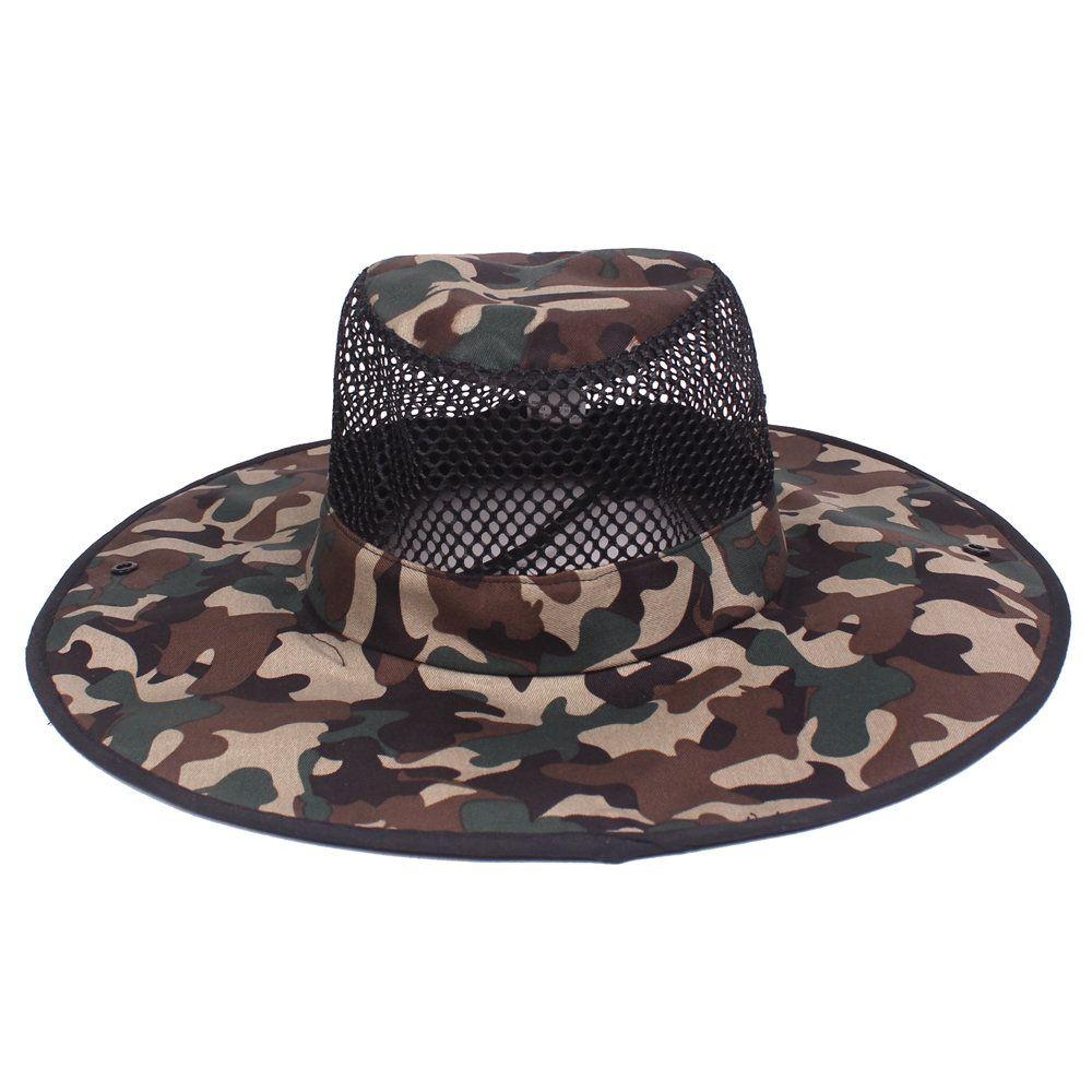 e908f5cdf6d Men Summer Camouflage Cotton Visor Bucket Hats Folding Fisherman Hat Outdoor  Climbing Mesh Sun Cap