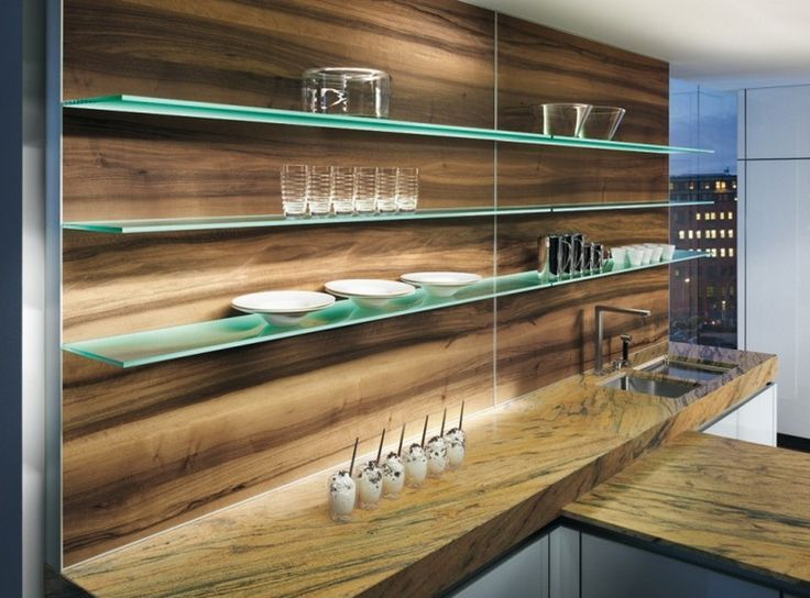Glass Floating Shelves Floating Glass Shelves Has Become A New Trend In Kitchen Design