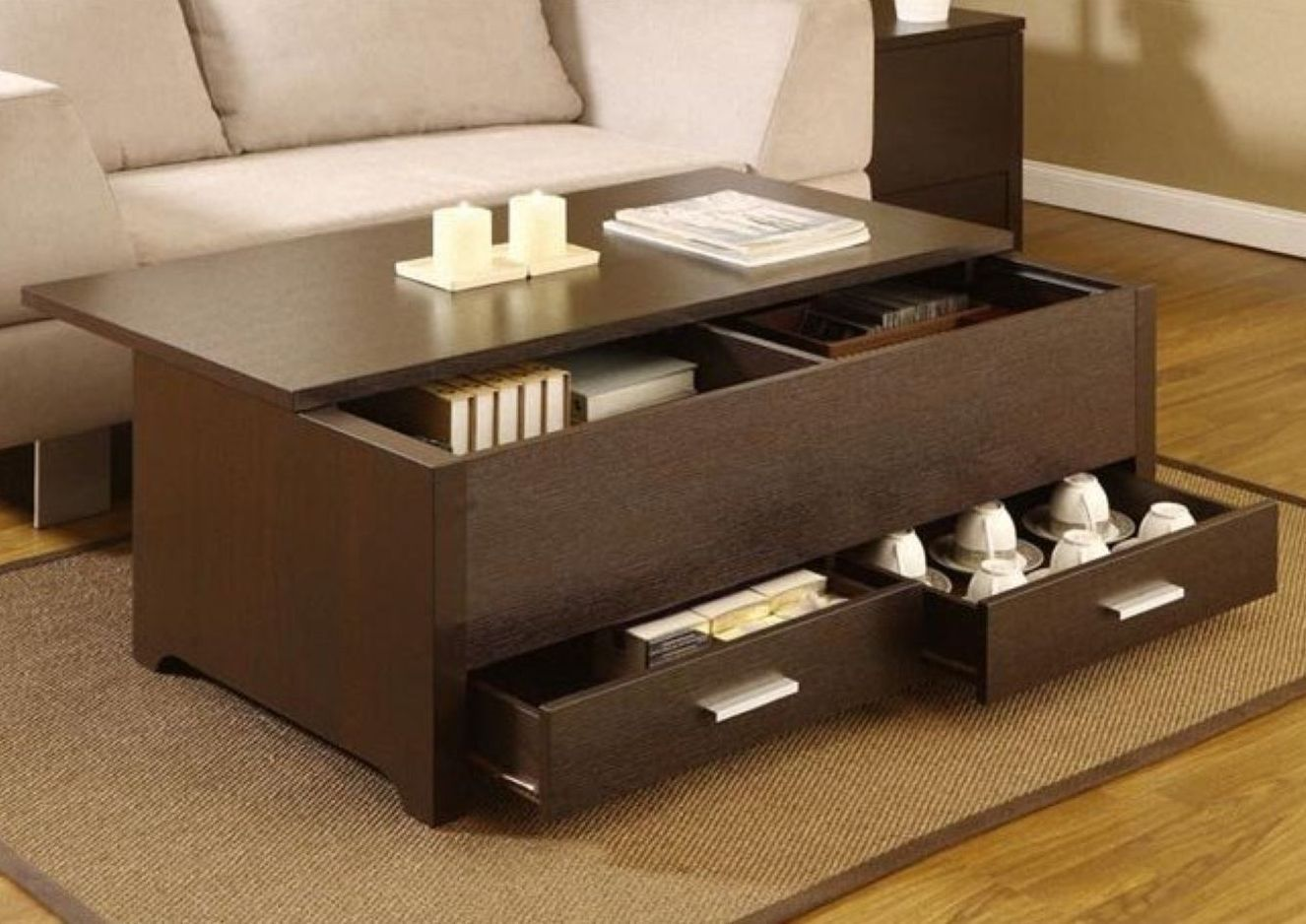Lovely Storage Coffee Table W/ Drawers Living Room Tables Espresso Trunk Style  Table