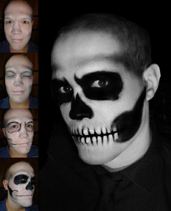 Halloween Manner Skelet Schminktutorium Make Up Trends