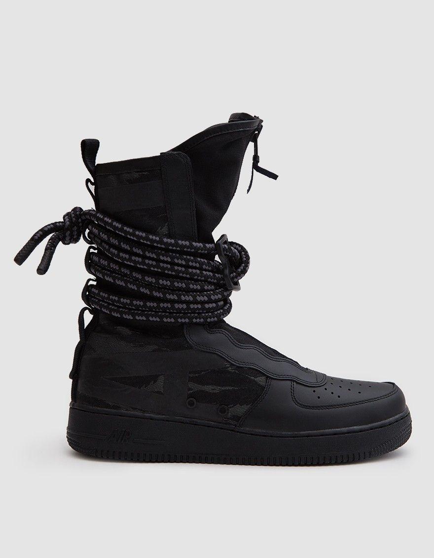 Nike Sf Air Force 1 Hi Boot In Black Black Dark Grey Black Nikes All Black Sneakers Boots