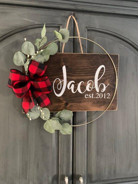 Photo of Personalized Door Hanger | Last Name Door Sign| Gold Ring Sign | Gold Hoop Wreath | Eucalyptus Wreat