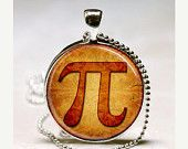 ON SALE Pi Necklace Mathematics Math Mathletes Greek Letter Jewelry Glass Bezel Pendant with Ball Chain Included (ITEM B022)