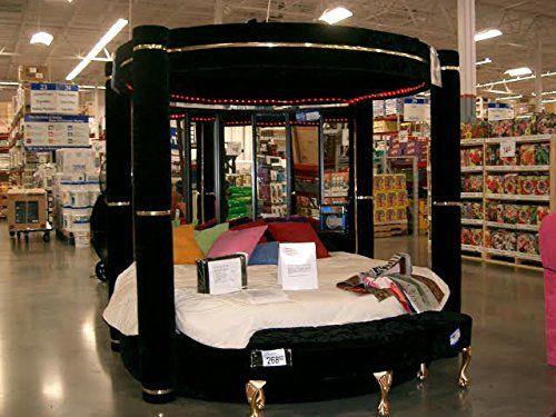 Modern Black Velvet Round 4 Post Canopy Bed King with Mirror u0026 Lights! & Modern Black Velvet Round 4 Post Canopy Bed King with Mirror ...