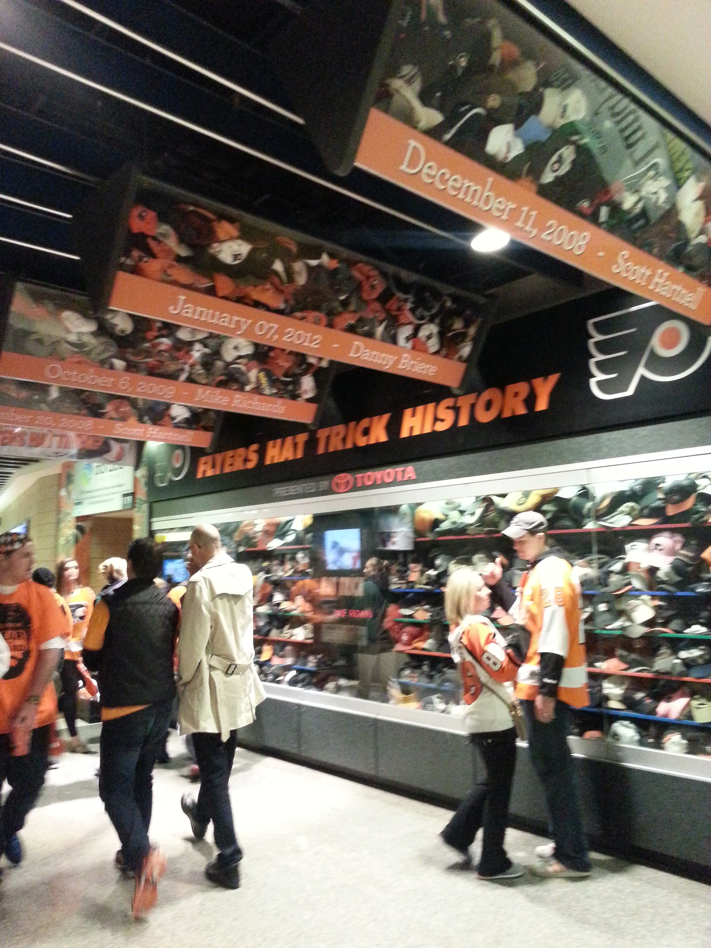 e5c7c67f673c64 Hat Trick Display at the Wells Fargo Center in Philadelphia, PA. Let's Go  Flyers!