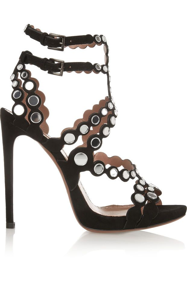 Alaïa - Mirror-embellished laser-cut suede sandals