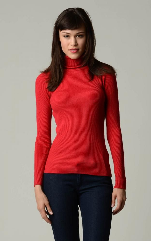 Ladies Red Turtleneck Sweater, Sizes Small, made with 95% cotton ...