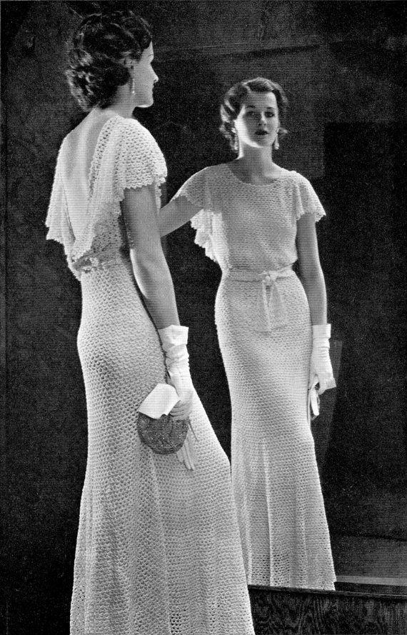 Vintage 30s Crochet Wedding Dress Pdf Pattern Lace Evening Gown