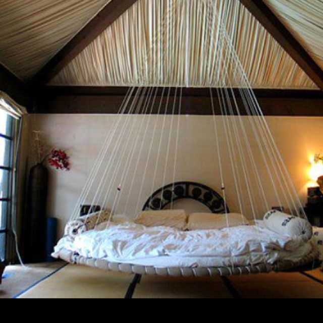 Love this floating bed! So romantic!