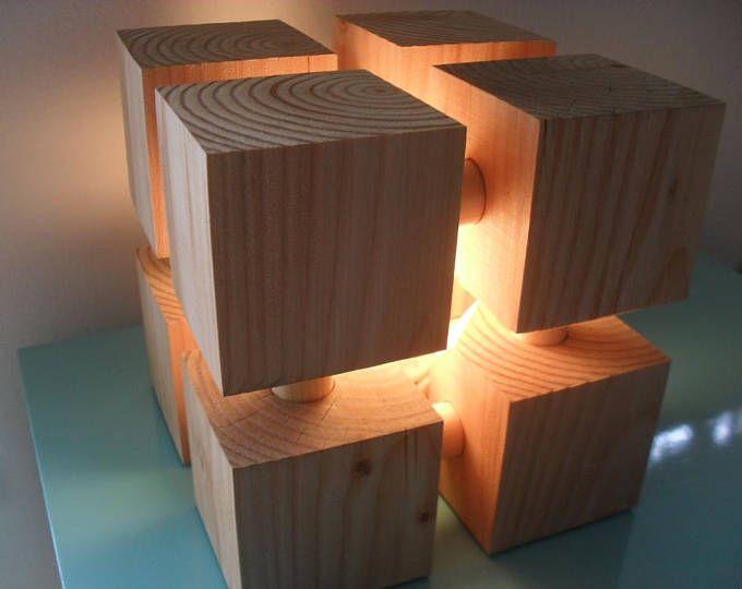 Lampe accent lumière dambiance cube géométrique lampe bois