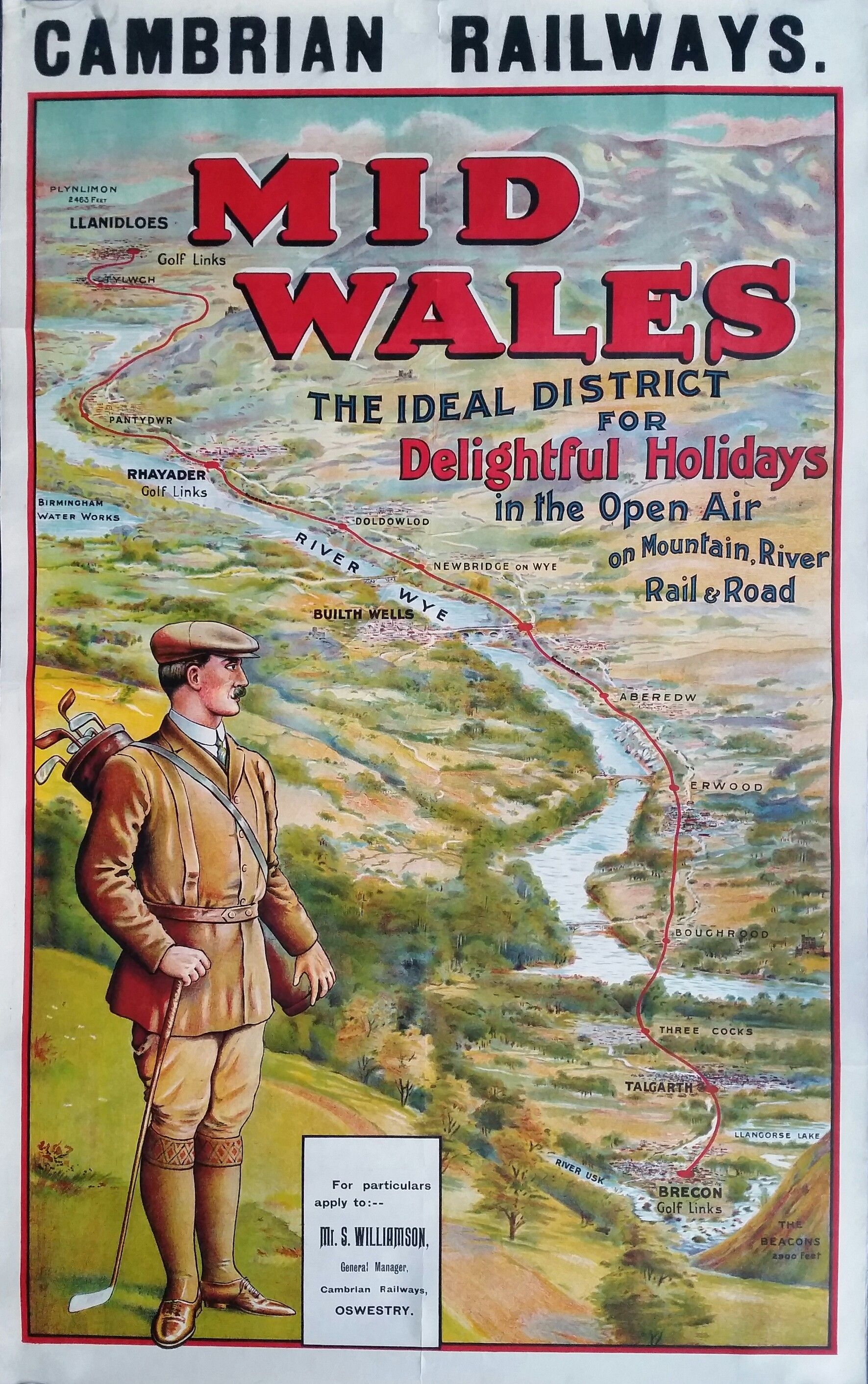 Original vintage poster golf Cambrian railways Mid Wales ...