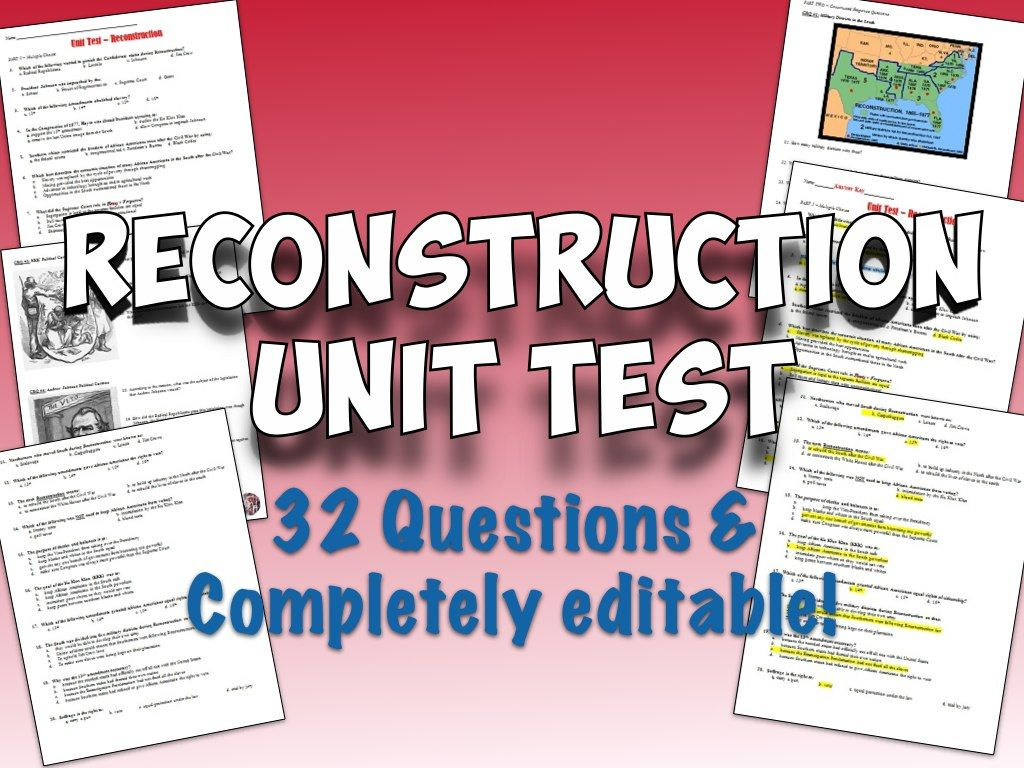 reconstruction unit test and answer key multiple choice social  reconstruction unit test and answer key