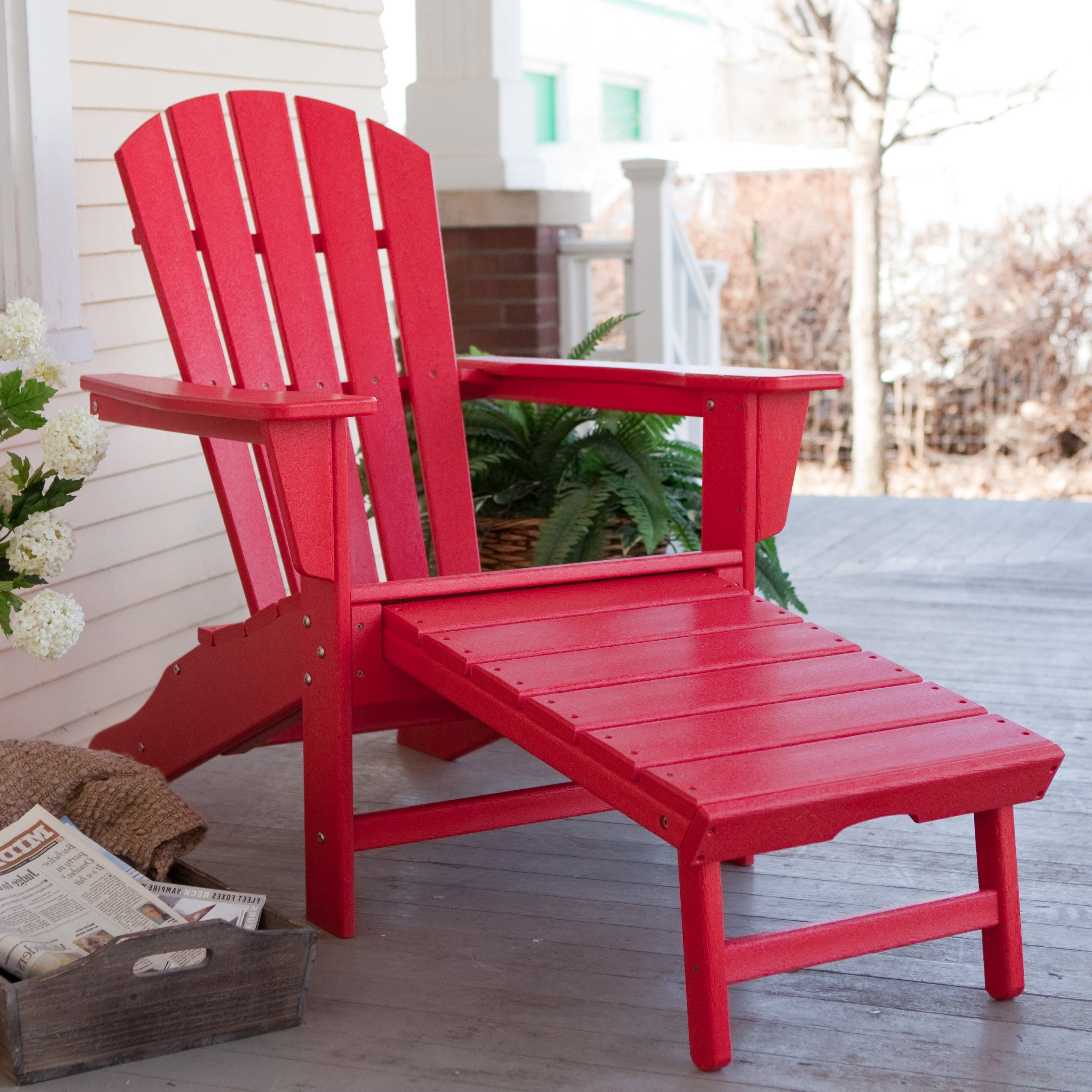 Polywood Recycled Plastic Daddy Adirondack Chair With Pull Out Ottoman 339 98 Hayneedle
