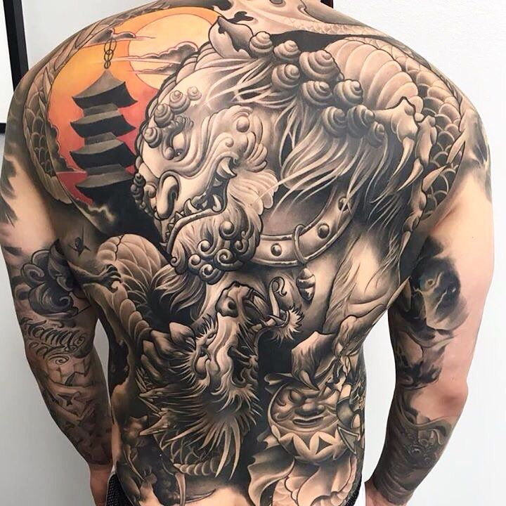 Japanese Back Tattoo Art Japanese back tattoo, Foo dog