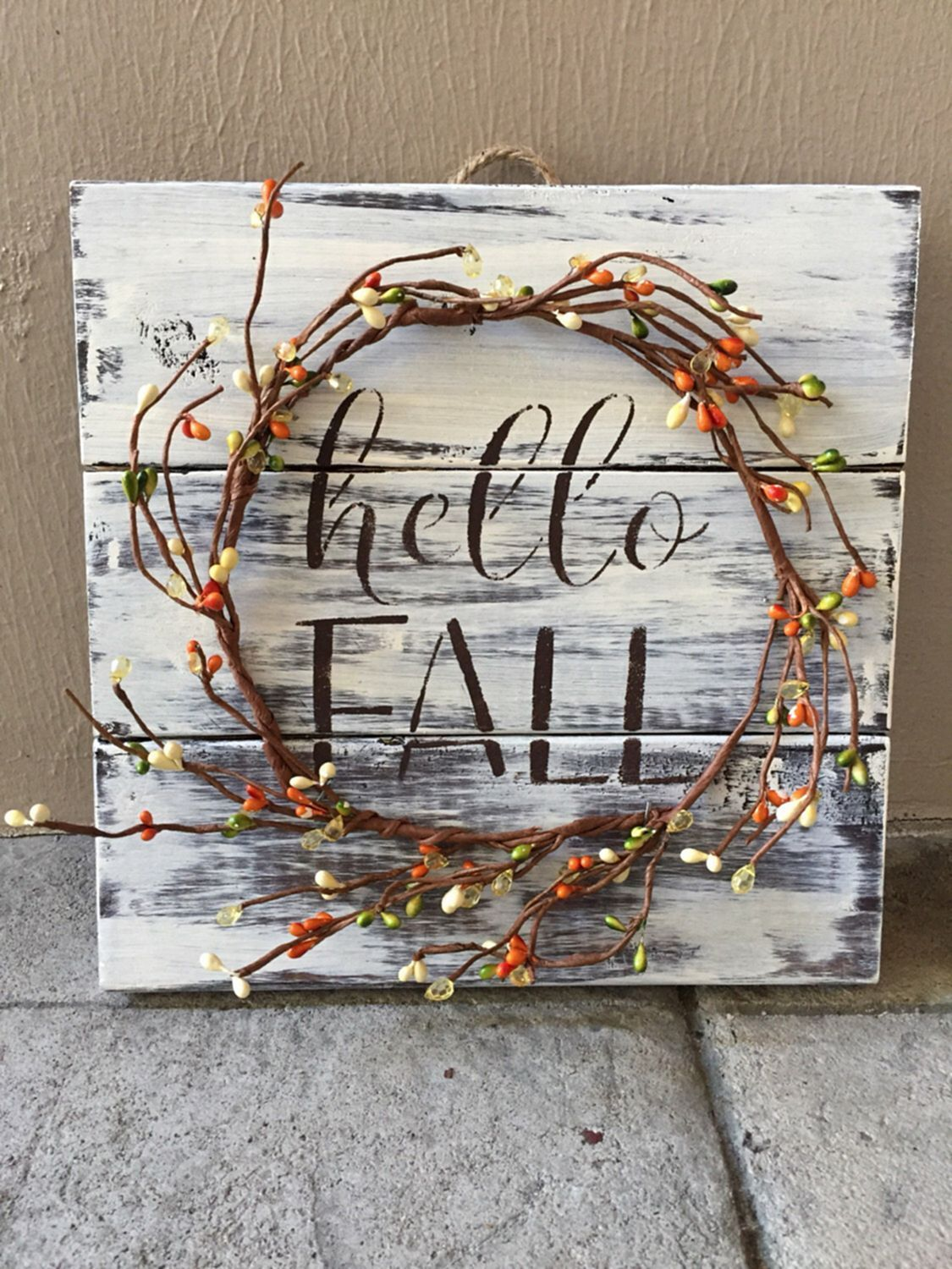 rustic fall wood pallet sign w berry garland fall decor