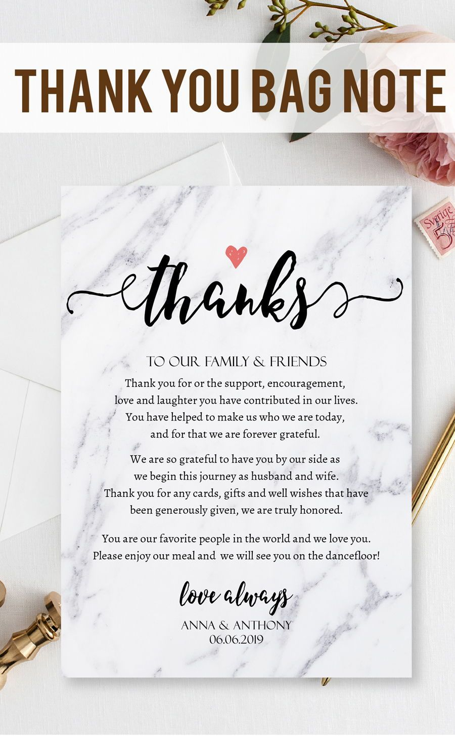 100% CUSTOMIZABLE, Simple Script Wedding Thank You Letter Template ...