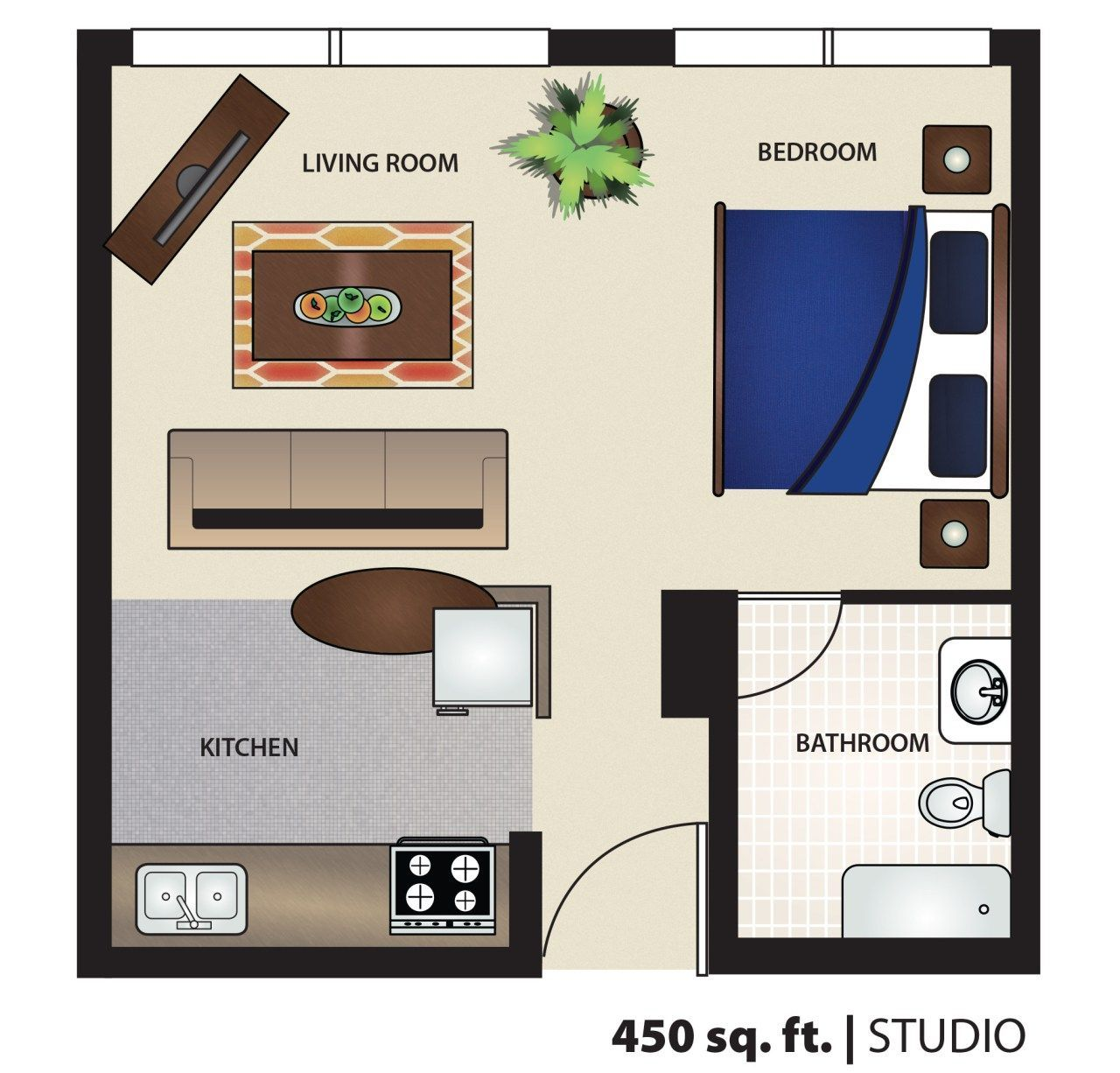 450 Square Foot Apartment Floor Plan Efficiency Studio 400 Of Home Design Map For 450 Sq Ft Of Home De Studio Floor Plans Cottage Style House Plans Floor Plans