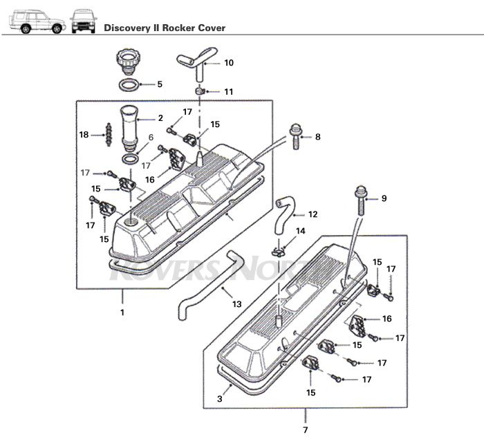 parts breakdown rocker cover top end engine discovery ii rh pinterest com land rover oem parts diagram land rover oem parts diagram