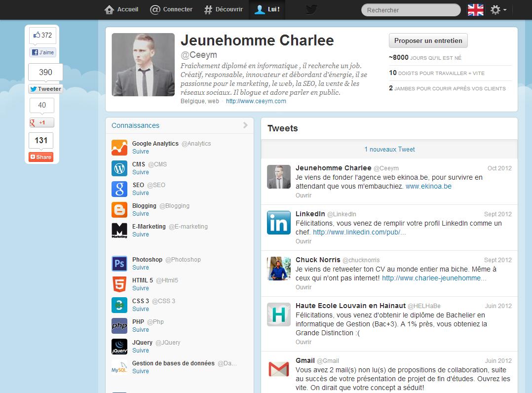 Un Jeune Diplome Cree Un Cv Original A La Twitter Creative Cvs Social Media Twitter