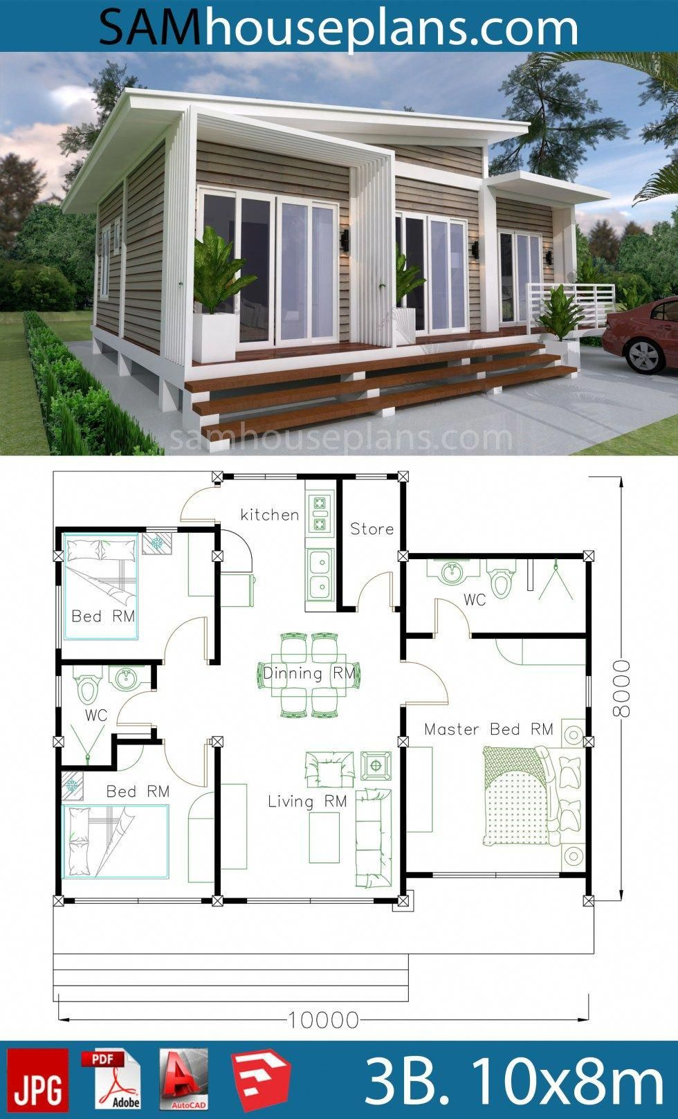 House Plans 10x8m With 3 Bedrooms Sam House Plans Simplebeachcottages Affordable House Plans Beach House Floor Plans Beach House Flooring