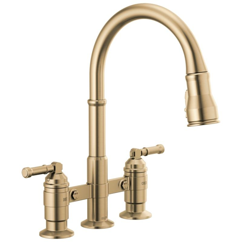 Delta 2390l Dst Broderick 1 8 Gpm Bridge Pull Down Kitchen Faucet With Magnetic Champagne Bronze Faucet Kitchen Double Handle In 2020 Faucet Brass Kitchen Faucet Farmhouse Faucet