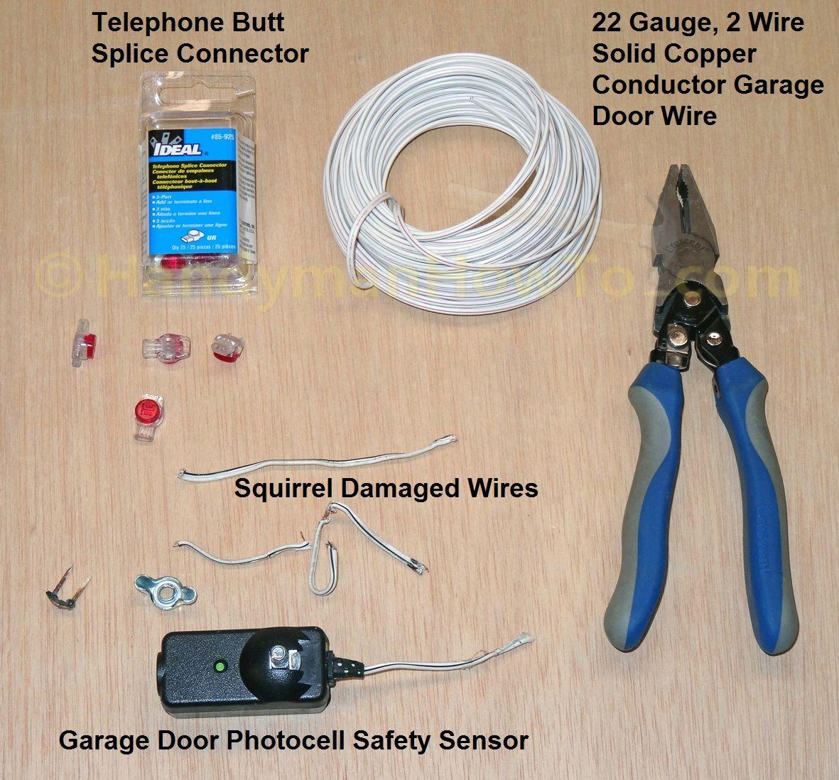 medium resolution of garage door safety sensor wire repair butt splice connectors mix garage door wiring 3 wire