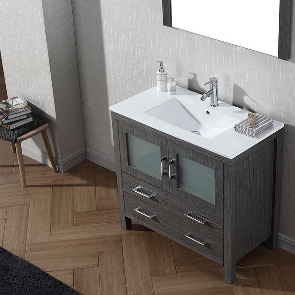 Virtu USA Dior 36 inch Single Sink Vanity Set in Zebra Grey | Overstock™ Shopping - Great Deals on VIRTU Bathroom Vanities