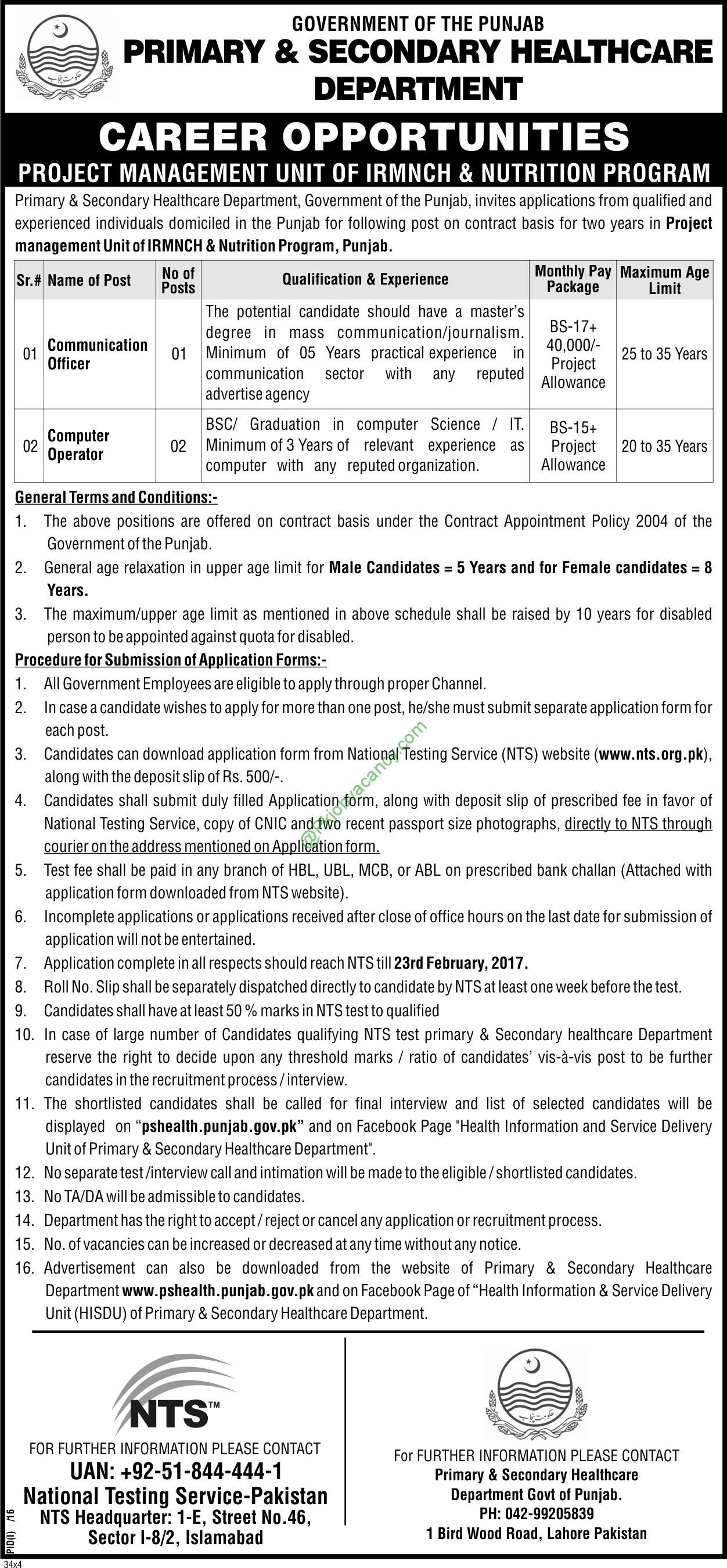Irmnch  Nutrition Program PS Healthcare Department Pmu Jobs Nts