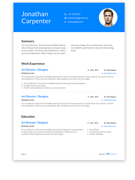 Blue Resume Design Resume design, Free resume builder