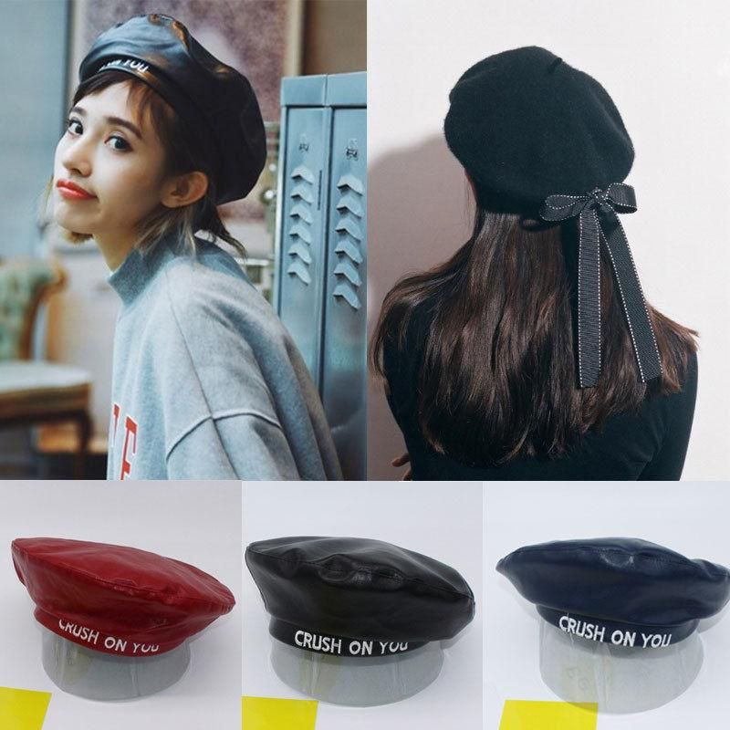 5d538f519 Crush On You Beret - New Womens Ladies PU Leather Beret Harajuku ...