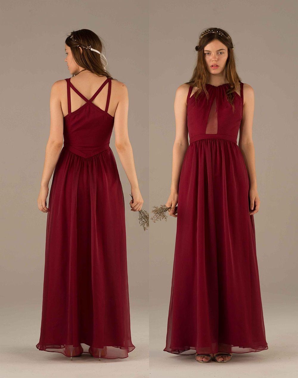 Wine Bridesmaid Dress Dark Red Prom Dress Long Chiffon Wedding Dress Pleated Dress Floor Length Form Wine Bridesmaid Dresses Bridemaid Dress Red Prom Dress