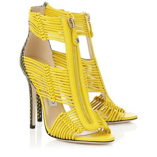 Jimmy Choo Kattie Nappa Printed Leather Caged Women Sandals Yellow