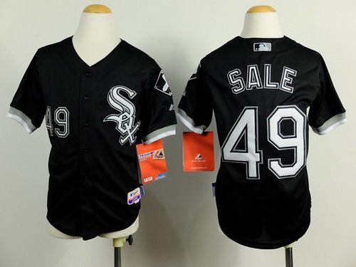 Chicago White Sox #49 Chris Sale Black Kids Jersey