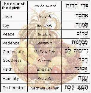 """Hebrew translation of the most important words... Notice it is fruit! No """"s""""...One fruit with multi-faceted attributes❤️if you readily have and use these attributes effortlessly...you can know this is Holy Spirit working through you❤️the unregenerated person does not have this gift of fruit. He may try...but it is ONLY a temporary behavior change... ONLY The Holy Spirit is able to perform a supernatural heart surgery that is permanent!❤️"""