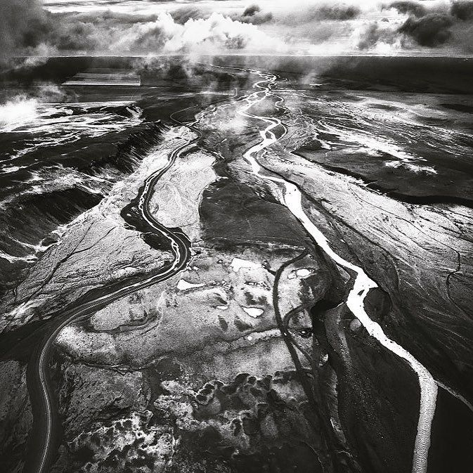 Iceland Aerial Drone Landscape Blackandwhite