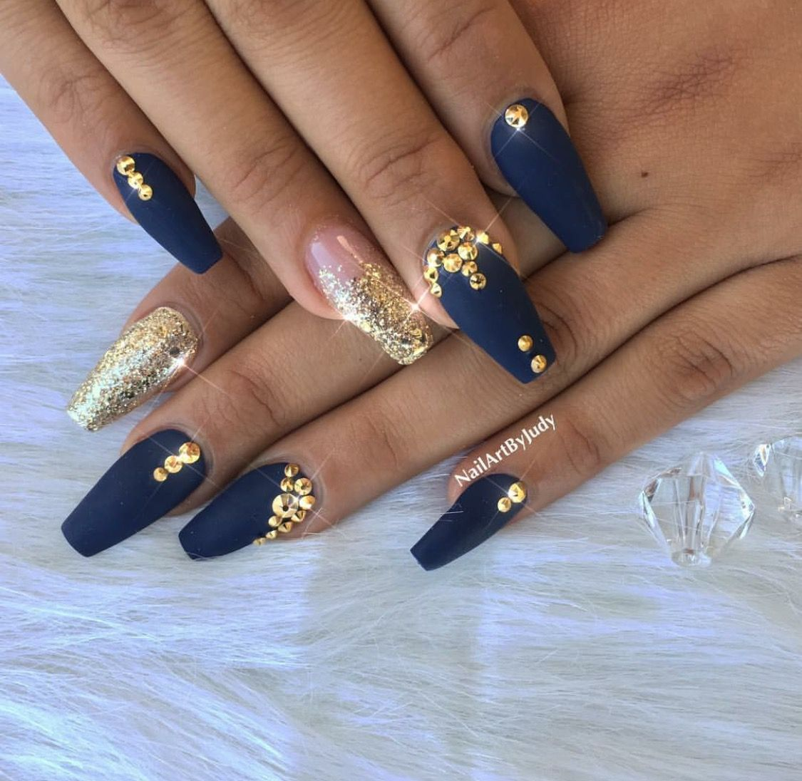 Nails Blue And Gold