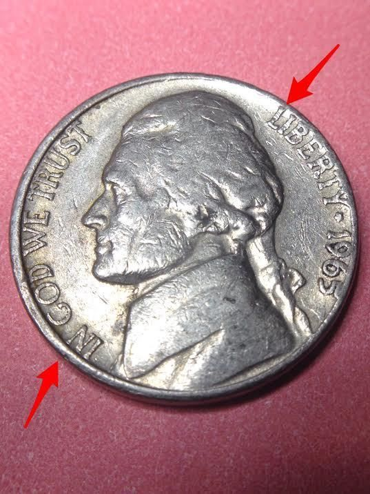 1965 Jefferson NIckel Error Coin