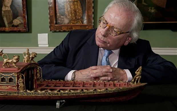 David Starkey views a model of the Worshipful Company of Shipwrights ceremonial barge (c.1780) at the National Maritime Museum, London