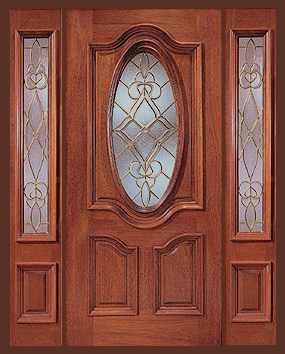 Cheap Entry Doors With Side Lights Entry Prehung Oval Glass Single Wood Door With 2 Sidelights